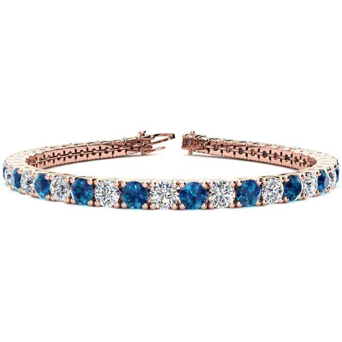 8 Inch 10 1/2 Carat Blue & White Diamond Tennis Bracelet in 14K Rose Gold (13.7 g),  by SuperJeweler
