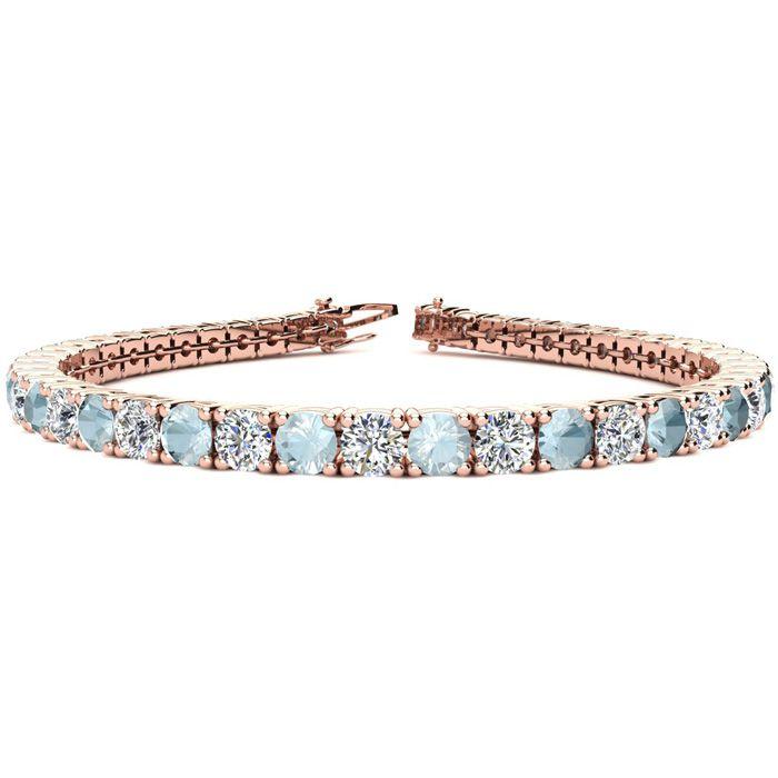 9 Inch 10 1/2 Carat Aquamarine & Diamond Tennis Bracelet in 14K Rose Gold (15.4 g),  by SuperJeweler