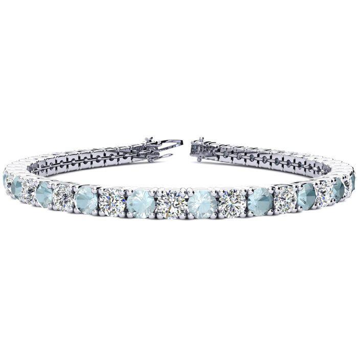 9 Inch 10 1/2 Carat Aquamarine & Diamond Tennis Bracelet in 14K White Gold (15.4 g),  by SuperJeweler