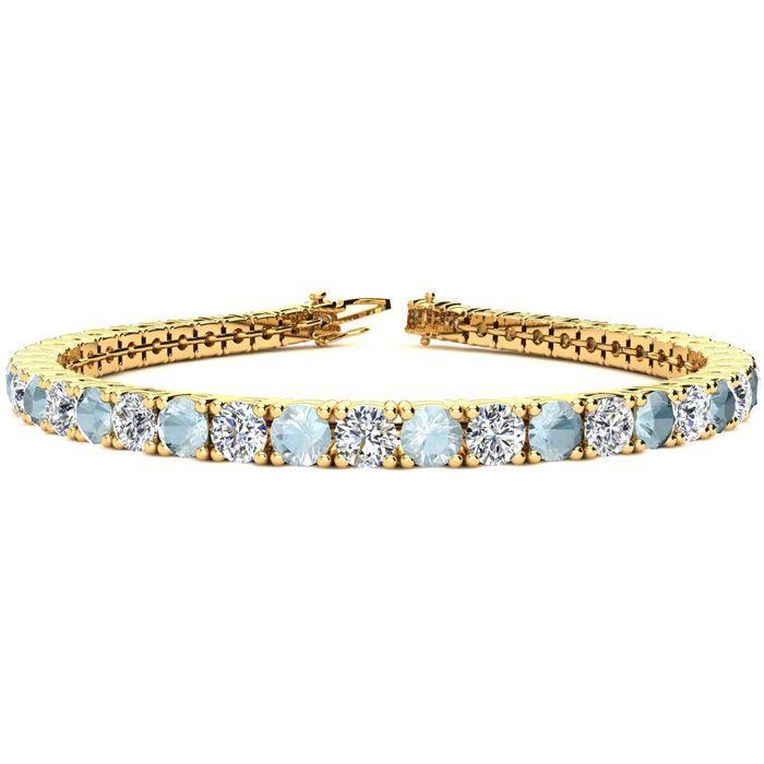 9 Inch 10 1/2 Carat Aquamarine & Diamond Tennis Bracelet in 14K Yellow Gold (15.4 g),  by SuperJeweler