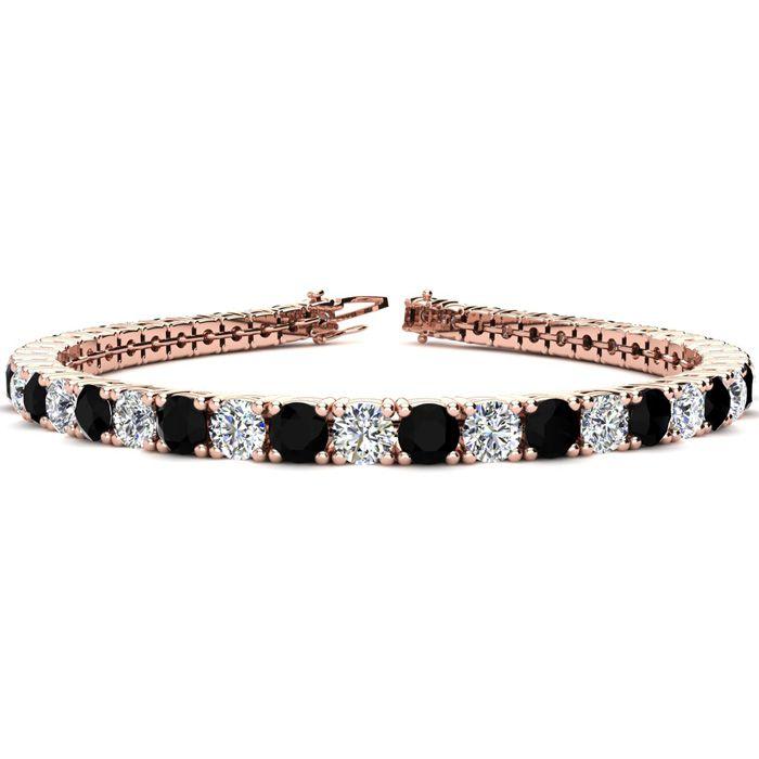 9 Inch 11 3/4 Carat Black & White Diamond Tennis Bracelet in 14K Rose Gold (15.4 g),  by SuperJeweler