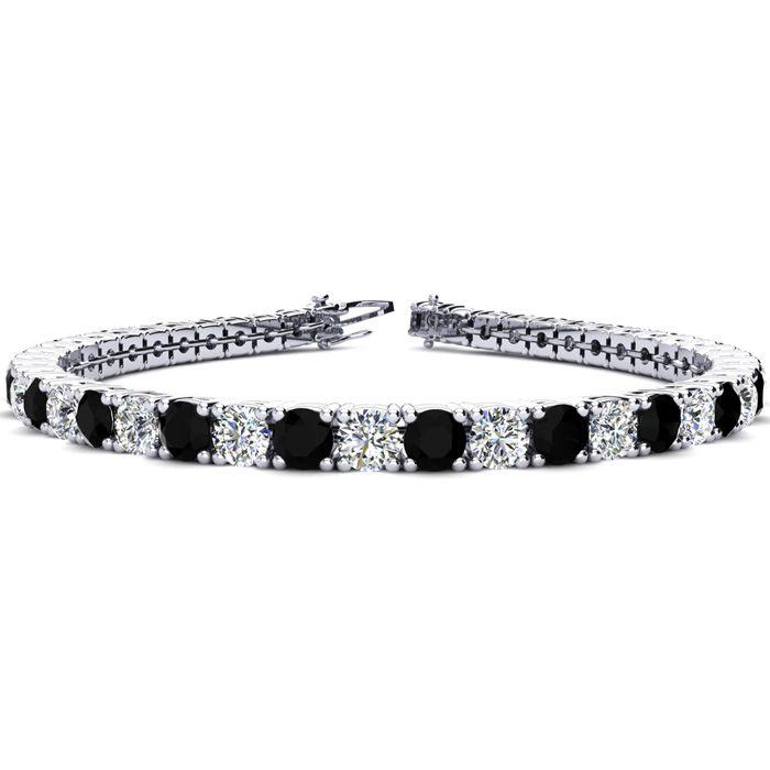 9 Inch 11 3/4 Carat Black & White Diamond Tennis Bracelet in 14K White Gold (15.4 g),  by SuperJeweler