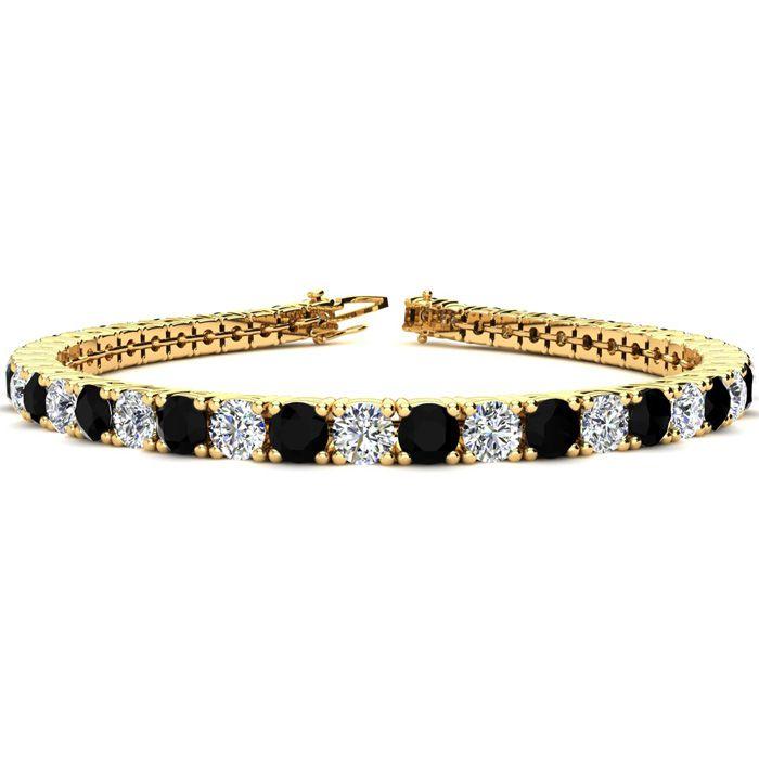 9 Inch 11 3/4 Carat Black & White Diamond Tennis Bracelet in 14K Yellow Gold (15.4 g),  by SuperJeweler
