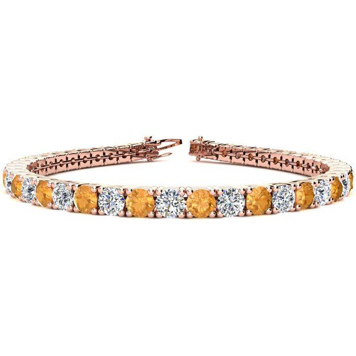 9 Inch 11 3/4 Carat Citrine & Diamond Tennis Bracelet in 14K Rose Gold (15.4 g),  by SuperJeweler
