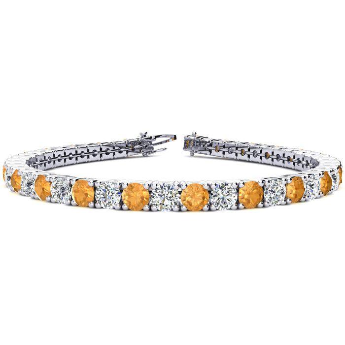 9 Inch 11 3/4 Carat Citrine & Diamond Tennis Bracelet in 14K White Gold (15.4 g),  by SuperJeweler