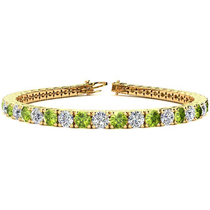 9 Inch 11 3/4 Carat Peridot & Diamond Tennis Bracelet in 14K Yellow Gold (15.4 g),  by SuperJeweler