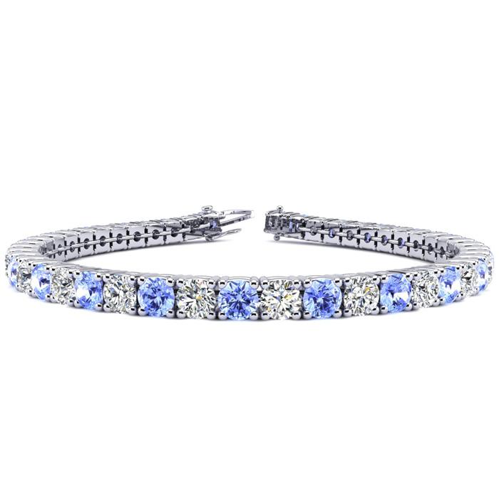 9 Inch 11.5 Carat Tanzanite & Diamond Tennis Bracelet in 14K White Gold (15.4 g),  by SuperJeweler