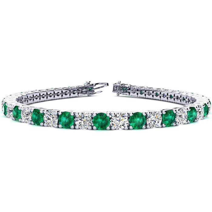 9 Inch 13 1/4 Carat Emerald Cut & Diamond Tennis Bracelet in 14K White Gold (15.4 g),  by SuperJeweler