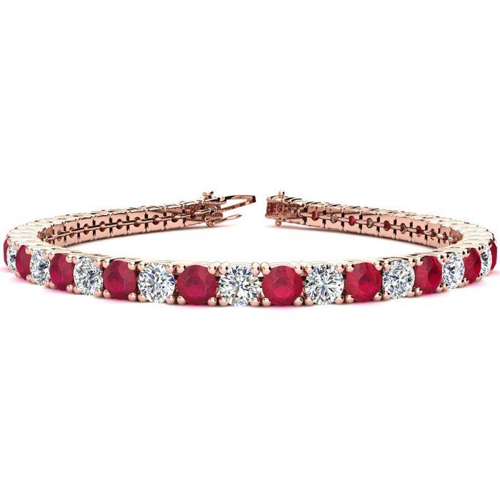 9 Inch 13 3/4 Carat Ruby & Diamond Tennis Bracelet in 14K Rose Gold (15.4 g),  by SuperJeweler