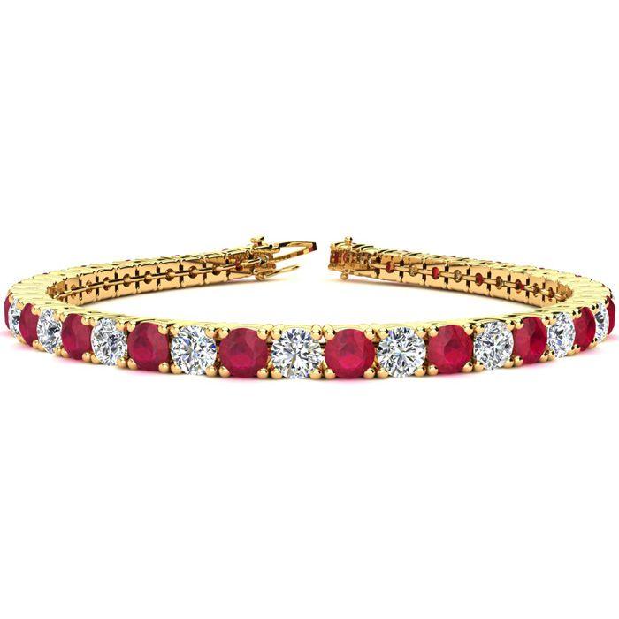 9 Inch 13 3/4 Carat Ruby & Diamond Tennis Bracelet in 14K Yellow Gold (15.4 g),  by SuperJeweler