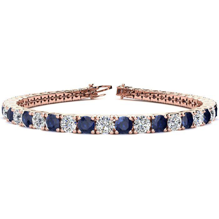 9 Inch 14 Carat Sapphire & Diamond Tennis Bracelet in 14K Rose Gold (15.4 g),  by SuperJeweler