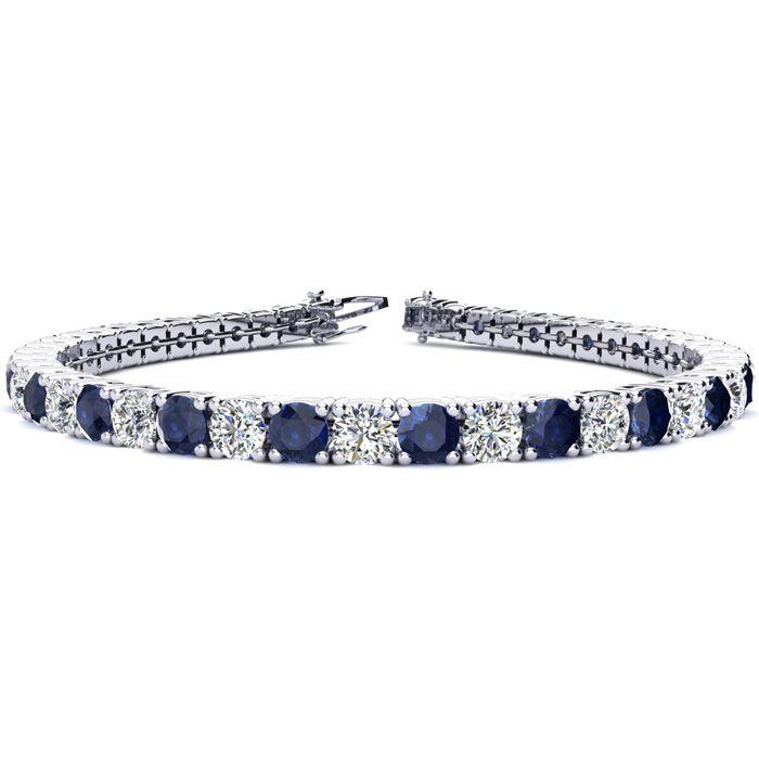 9 Inch 14 Carat Sapphire & Diamond Tennis Bracelet in 14K White Gold (15.4 g),  by SuperJeweler