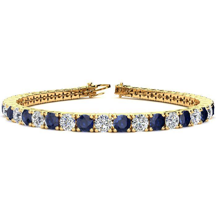 9 Inch 14 Carat Sapphire & Diamond Tennis Bracelet in 14K Yellow Gold (15.4 g),  by SuperJeweler