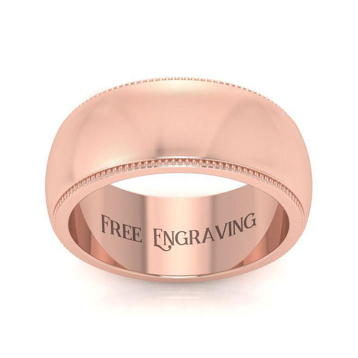 18K Rose Gold (11.4 g) 8MM Comfort Fit Milgrain Ladies & Men's Wedding Band, Size 9.5, Free Engraving by SuperJeweler
