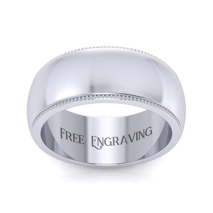 18K White Gold (11.4 g) 8MM Comfort Fit Milgrain Ladies & Men's Wedding Band, Size 9, Free Engraving by SuperJeweler