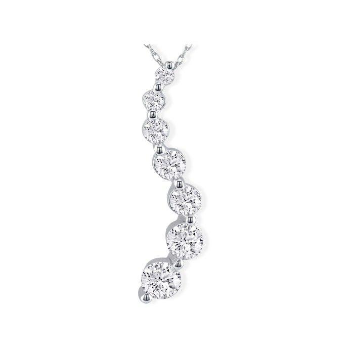 3 Carat Diamond Journey Pendant Necklace in 18k White Gold,  by SuperJeweler