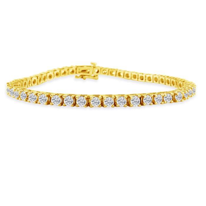 6 Carat Genuine Diamond Tennis Bracelet in 14K Yellow Gold (14.4 g), , 7 Inch by SuperJeweler