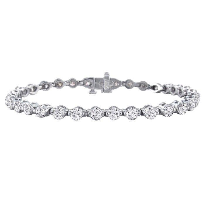 Gorgeous 7 Carat Diamond Tennis Bracelet in 14K White Gold (14 g), , 7 Inch by SuperJeweler