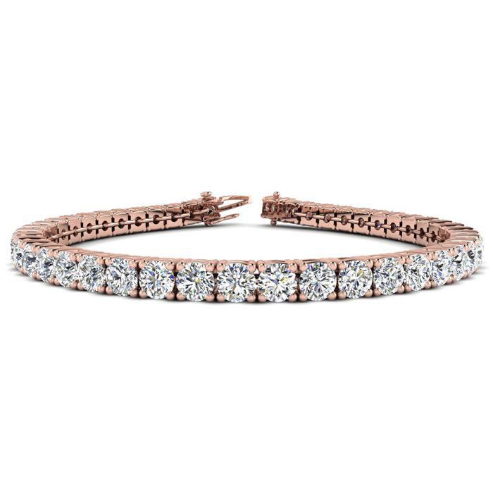 7 Inch 14K Rose Gold 9 Carat TDW Round Diamond Tennis Bracelet (, ) by SuperJeweler