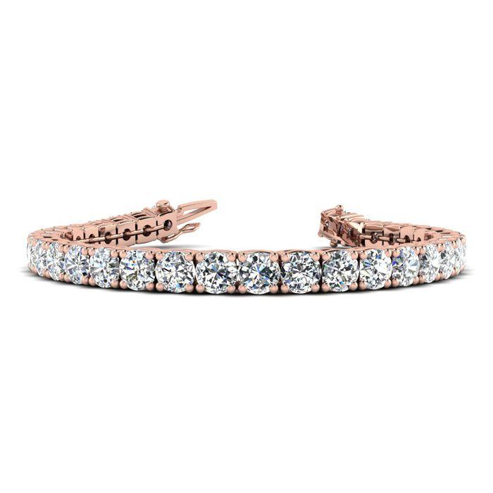 8 Inch 14K Rose Gold 13 Carat TDW Round Diamond Tennis Bracelet (, ) by SuperJeweler