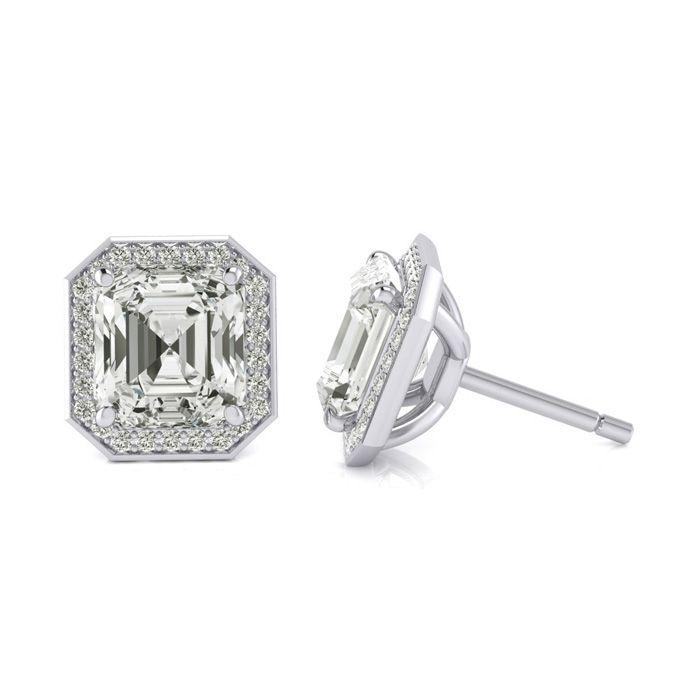 Certified 11.04 Carat Radiant Cut Halo Diamond Stud Earrings in 18K White Gold (4.10 g), J by SuperJeweler