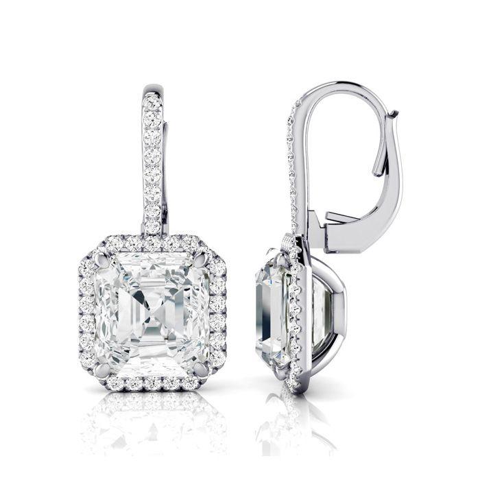 Certified 11.18 Carat Radiant Cut Halo Diamond Drop Earrings in 18K White Gold (6.9 g), J by SuperJeweler