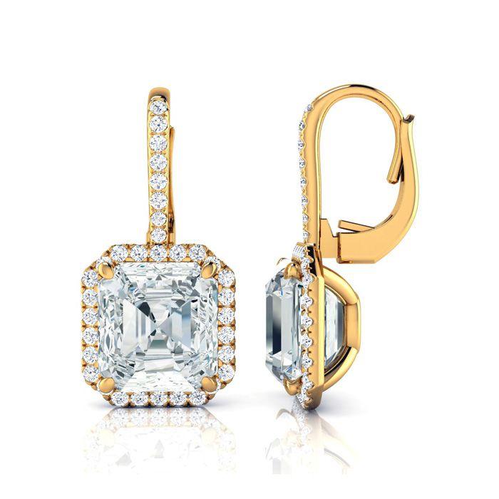 Certified 11.18 Carat Radiant Cut Halo Diamond Drop Earrings in 18K Yellow Gold (6.9 g), J by SuperJeweler