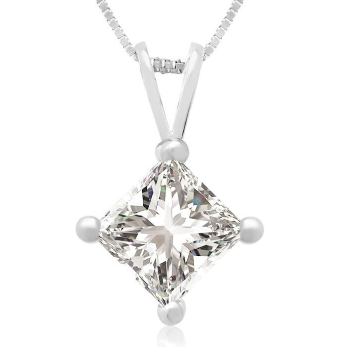 1 Carat 14k White Gold Princess Cut Diamond Pendant Necklace, G/H Color, 18 Inch Chain by SuperJeweler
