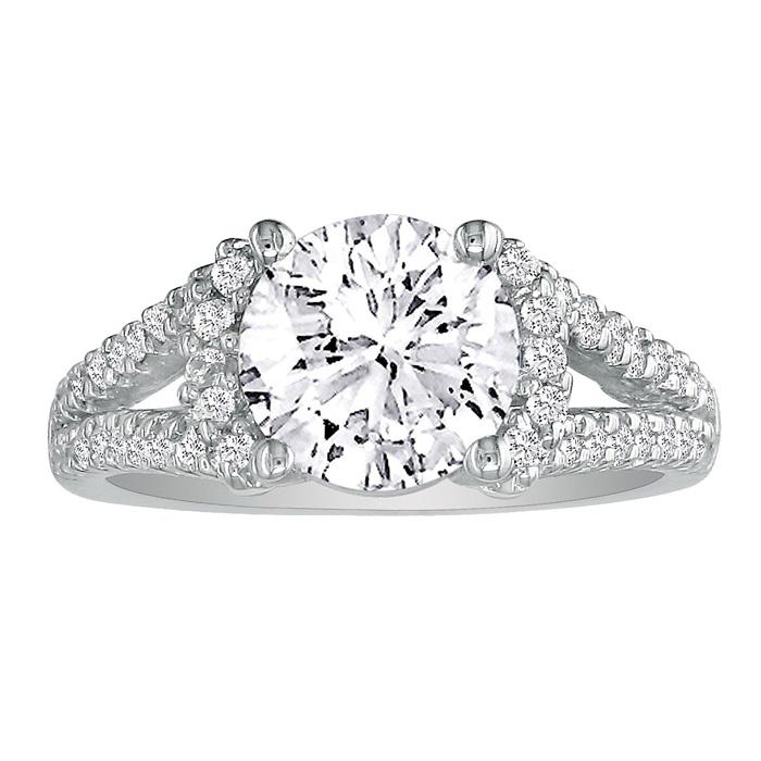 2 1/3 Carat Halo Diamond Engagement Ring in 14K White Gold, Split Shank,  by SuperJeweler