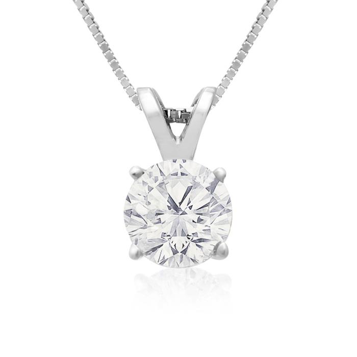 3/4 Carat 14k White Gold Fine Diamond Pendant Necklace, , 18 Inch Chain by SuperJeweler