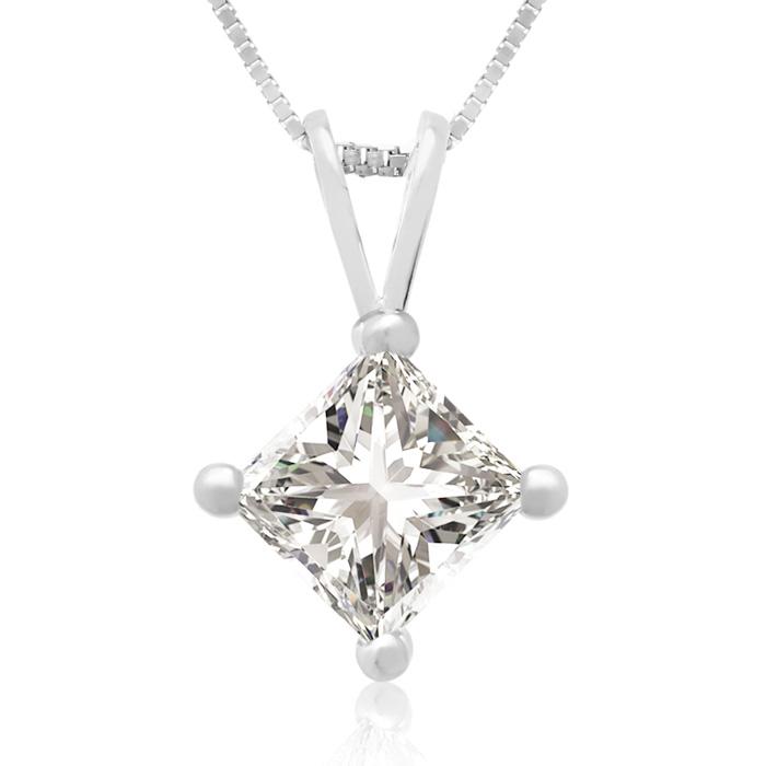 3/4 Carat 14k White Gold Princess Cut Diamond Pendant Necklace, G/H Color, 18 Inch Chain by SuperJeweler