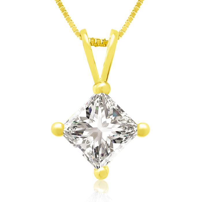 3/4 Carat 14k Yellow Gold Princess Cut Diamond Pendant Necklace, G/H Color, 18 Inch Chain by SuperJeweler