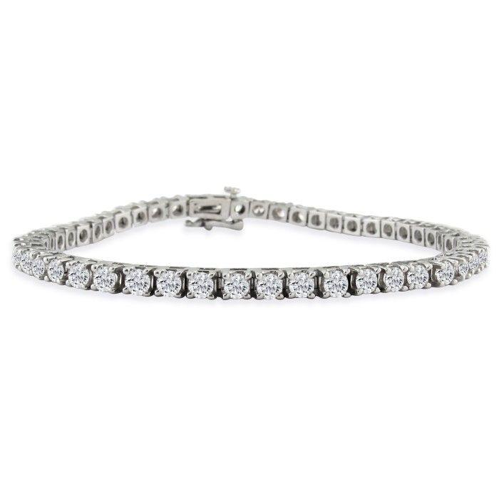 6 Carat Fine Diamond Tennis Bracelet, 14K White Gold (13 g), , 7 Inch by SuperJeweler