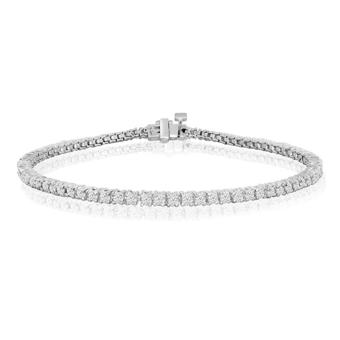 7.5 Inch White Gold (5.7 g) 2 1/7 Carat Diamond Tennis Bracelet,  by SuperJeweler