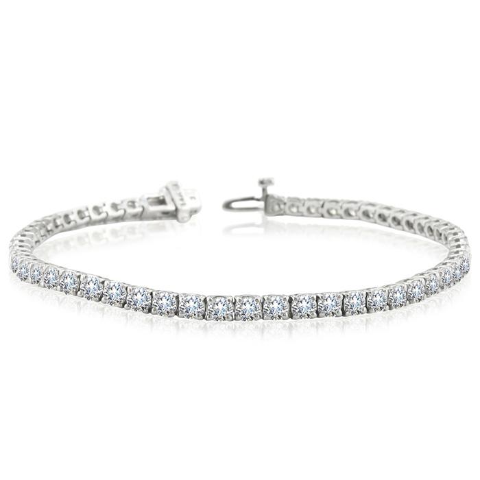 7 Inch 14K White Gold (11.2 g) 8 Carat TDW Round Diamond Tennis Bracelet,  by SuperJeweler