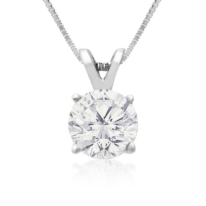 Fine 1 Carat 14k White Gold Diamond Pendant Necklace, , 18 Inch Chain by SuperJeweler