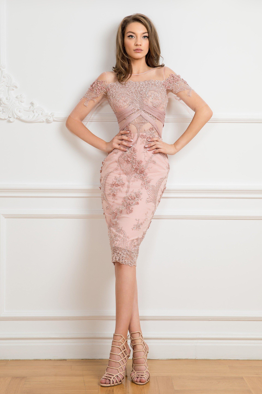 Cristallini - SKA 839 Illusion Short Sleeve Beaded Sheath Dress