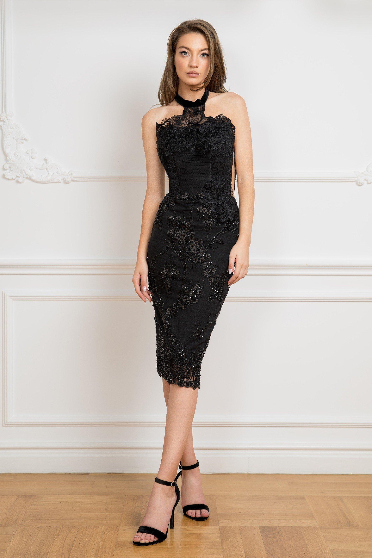 Cristallini - SKA 840 Knee Length Beaded Lace Halter Dress