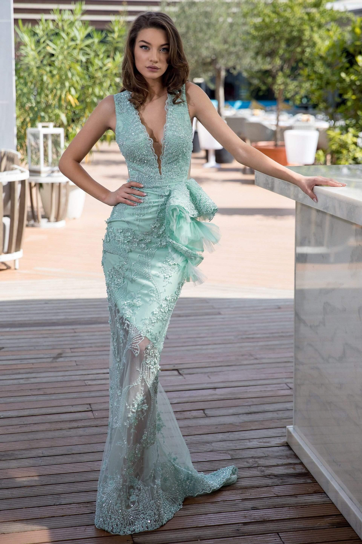 Cristallini - SKA 864 Bead-Ornate Bow Trimmed Mermaid Gown