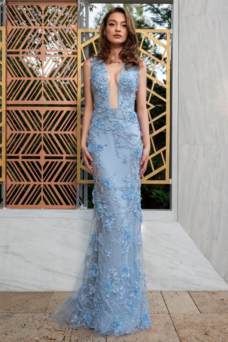 Cristallini - SKA 879 Floral Beaded Plunging V-Neckline Gown