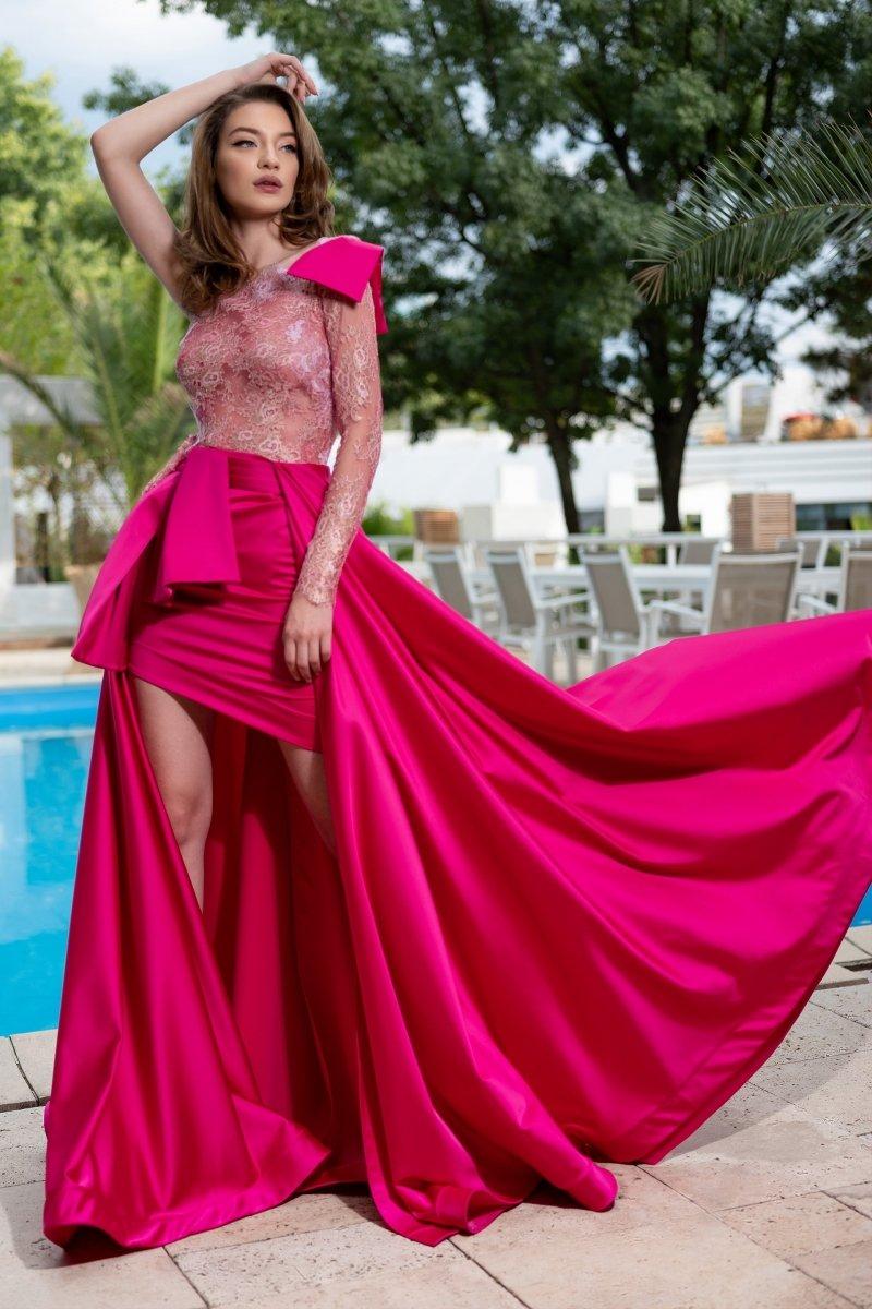 Cristallini - SKA 885 Single Long Sleeve High Low Dress