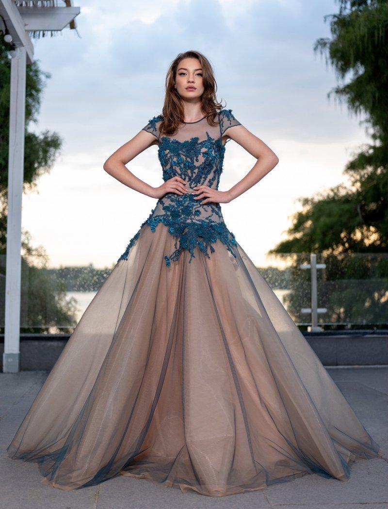 Cristallini - SKA 890 Floral Applique Cap Sleeve Gown
