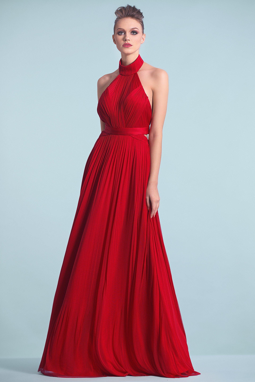 Cristallini - SKA468 Halter Plisse Silk Tulle Backless Evening Gown