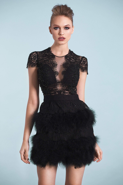 Cristallini - SKA543 Lace Illusion Jewel Feathered Dress