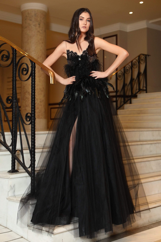 Cristallini - SKA794 Feather-Adorned Illusion Jewel High Slit Gown