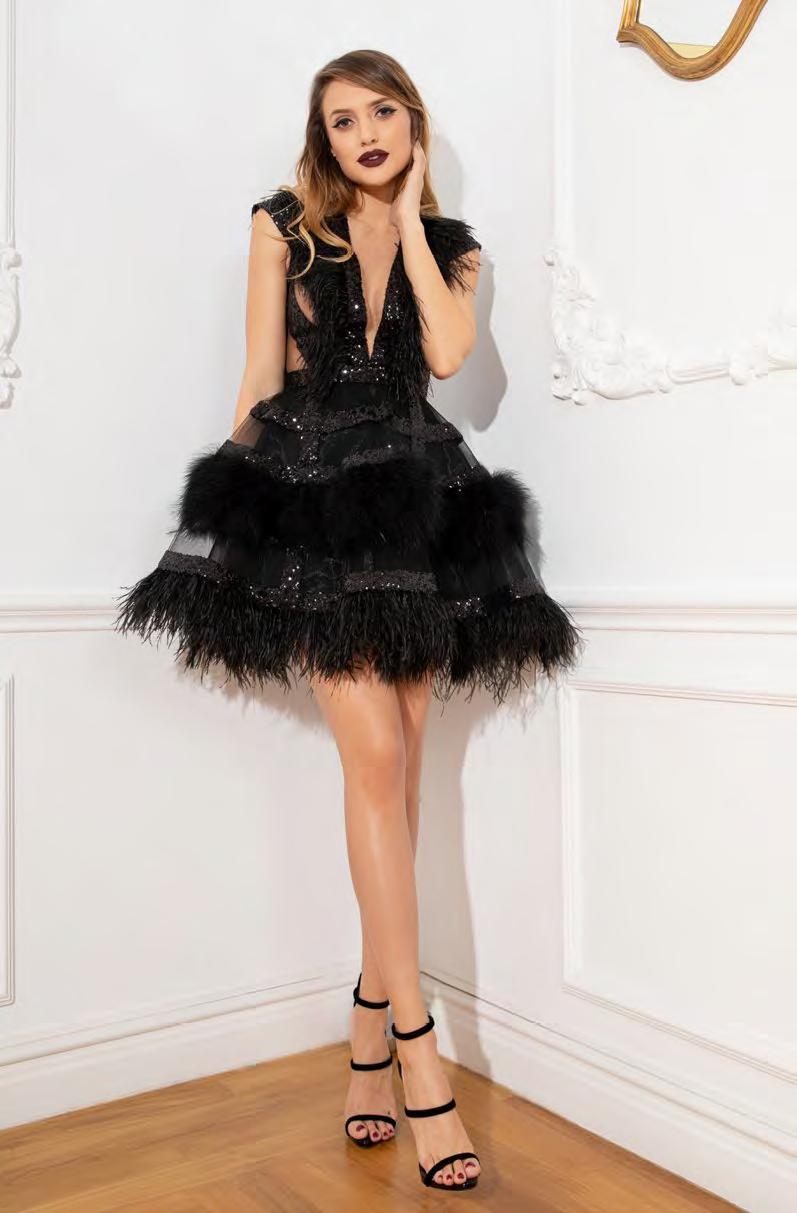 Cristallini - SKA913 Feathered Plunging V-Neck Cocktail Dress