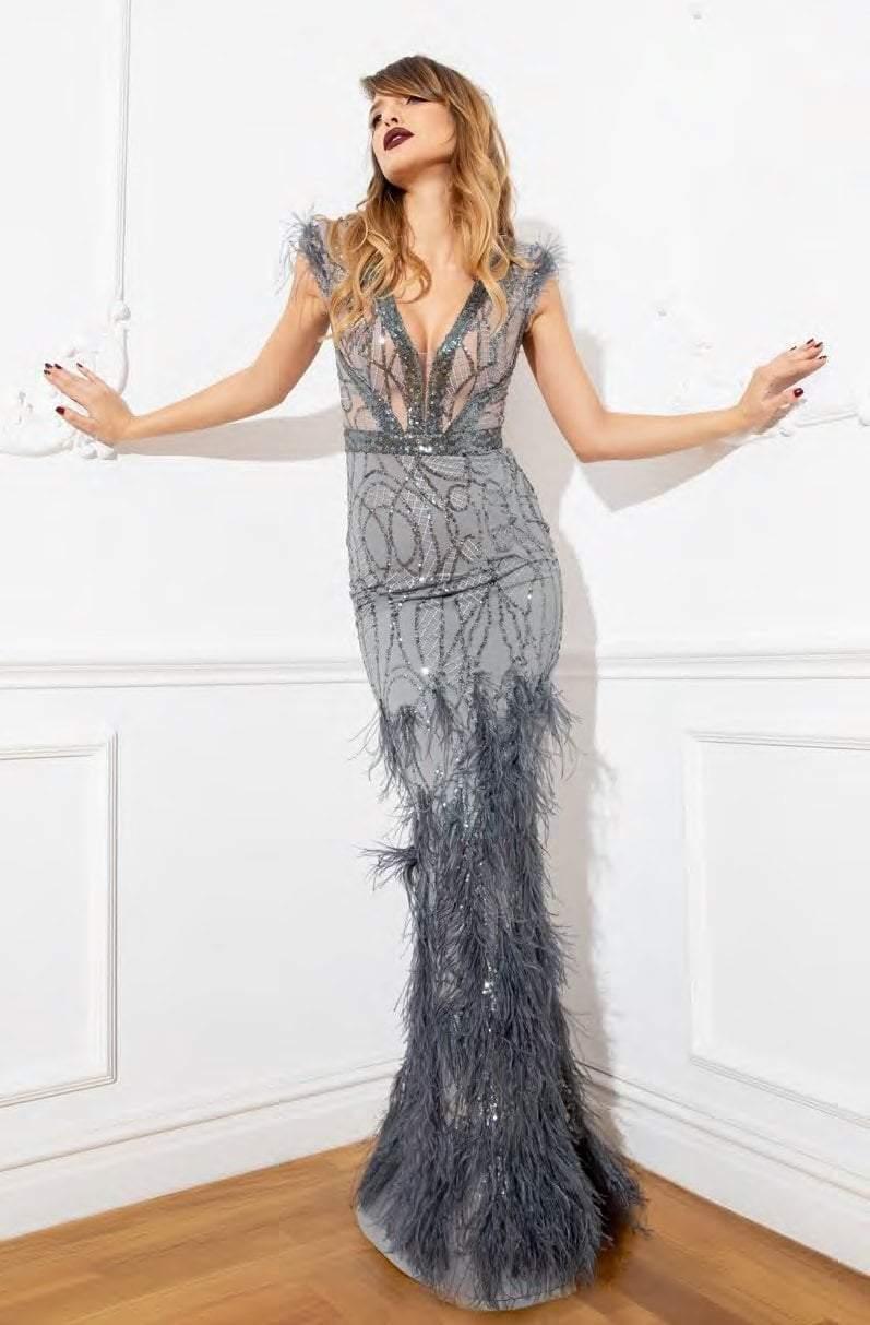 Cristallini - SKA918 Plunging V-Neck Feathered Dress