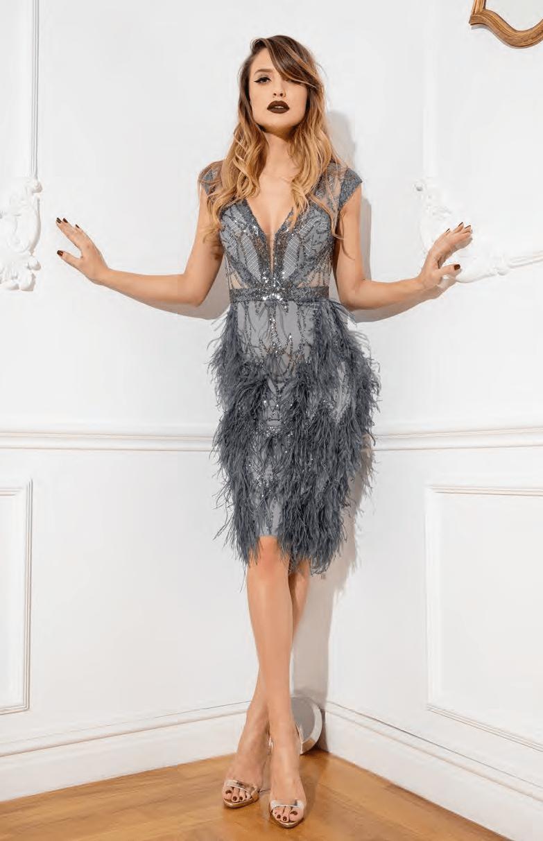Cristallini - SKA925 Sequin Embellished Feathered Cocktail Dress