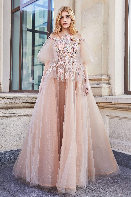 Cristallini - SKA942 Off-Shoulder Floral Embroidered Gown