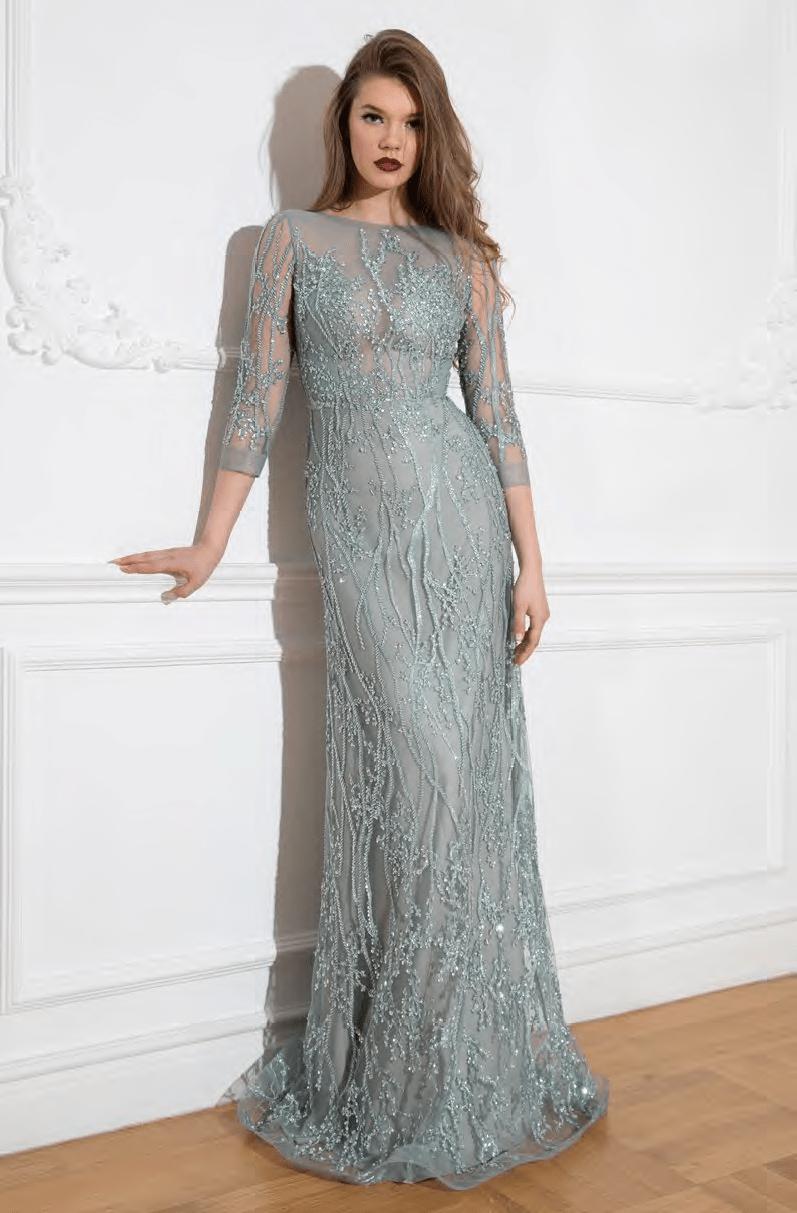 Cristallini - SKA952 Embellished Quarter Length Sleeves Dress